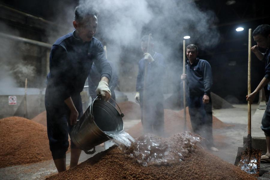 Workers moisten grains at a distillery in Maotai town of Renhuai, southwest China's Guizhou Province, Nov. 28, 2020. Maotai is a small town in Renhuai City in mountainous Guizhou. What distinguishes it from other towns is that it produces a famous brand of Chinese liquor Moutai. The spirit, made from sorghum and wheat, takes up to one year for the whole production process, involving nine times of steaming, eight times of fermentation and seven times of distillation, before aged in clay pots. (Xinhua/Ou Dongqu)
