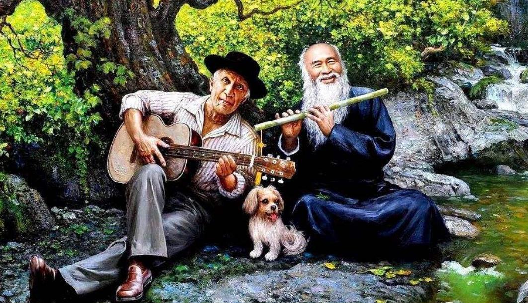 晚年的毕加索钟情中国艺术,与张大千见面时,就曾展示临摹之作