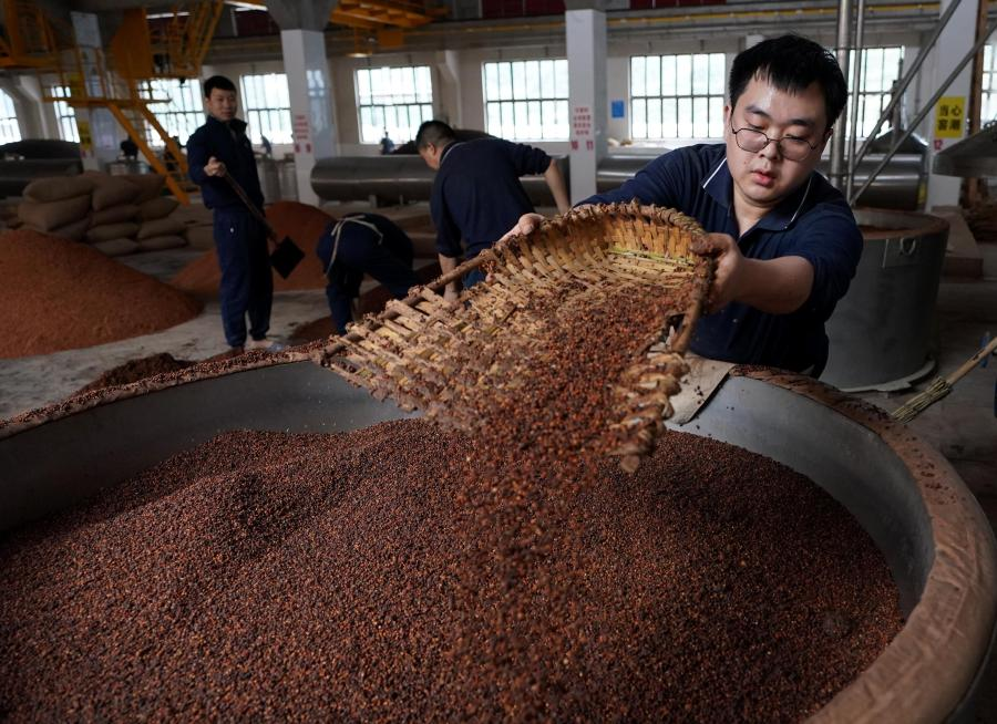 Hu Meng (R), 26, works at a distillery in Maotai town of Renhuai, southwest China's Guizhou Province, Nov. 28, 2020. Hu graduated from Xihua University in southwestern Chinese city Chengdu and has been working here since this September. Maotai is a small town in Renhuai City in mountainous Guizhou. What distinguishes it from other towns is that it produces a famous brand of Chinese liquor Moutai. The spirit, made from sorghum and wheat, takes up to one year for the whole production process, involving nine times of steaming, eight times of fermentation and seven times of distillation, before aged in clay pots. (Xinhua/Wang Yuguo)