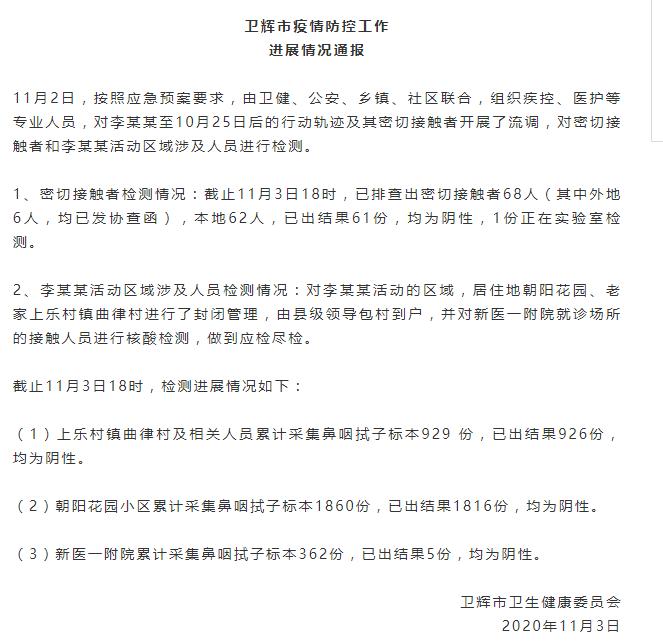 河南卫辉现1例境外输入无症状复阳人员,已排查出密接者68人图片
