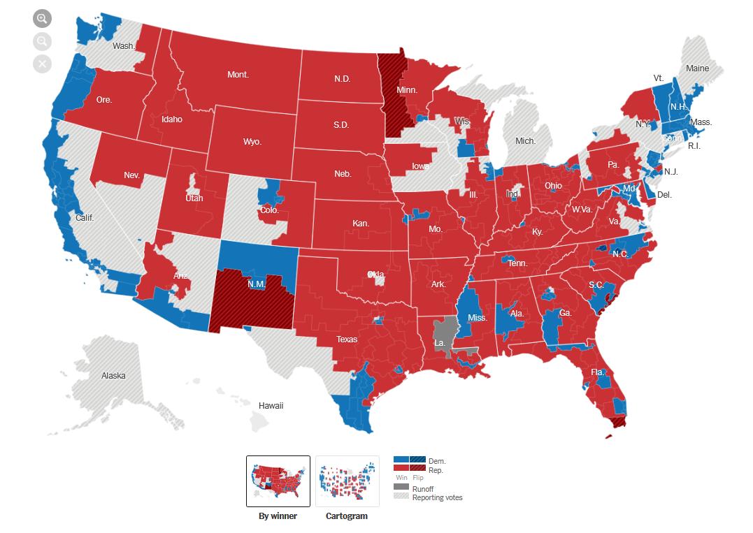美国众议院改选 民主党暂时领先7席