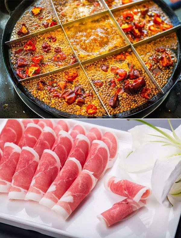 川渝火锅(上图)和宁夏盐池滩羊肉(下图)