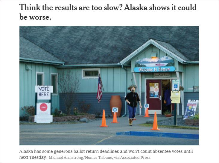 紐約時報:嫌計票慢?阿拉斯加能讓你見識到什么是災難