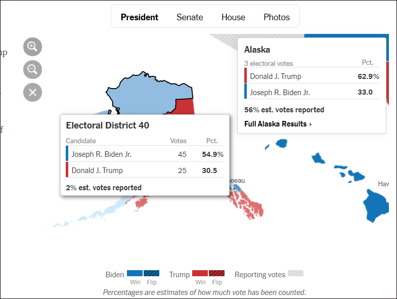 紐約時報數據:阿拉斯加開票率僅有56%,部分地區只有2%