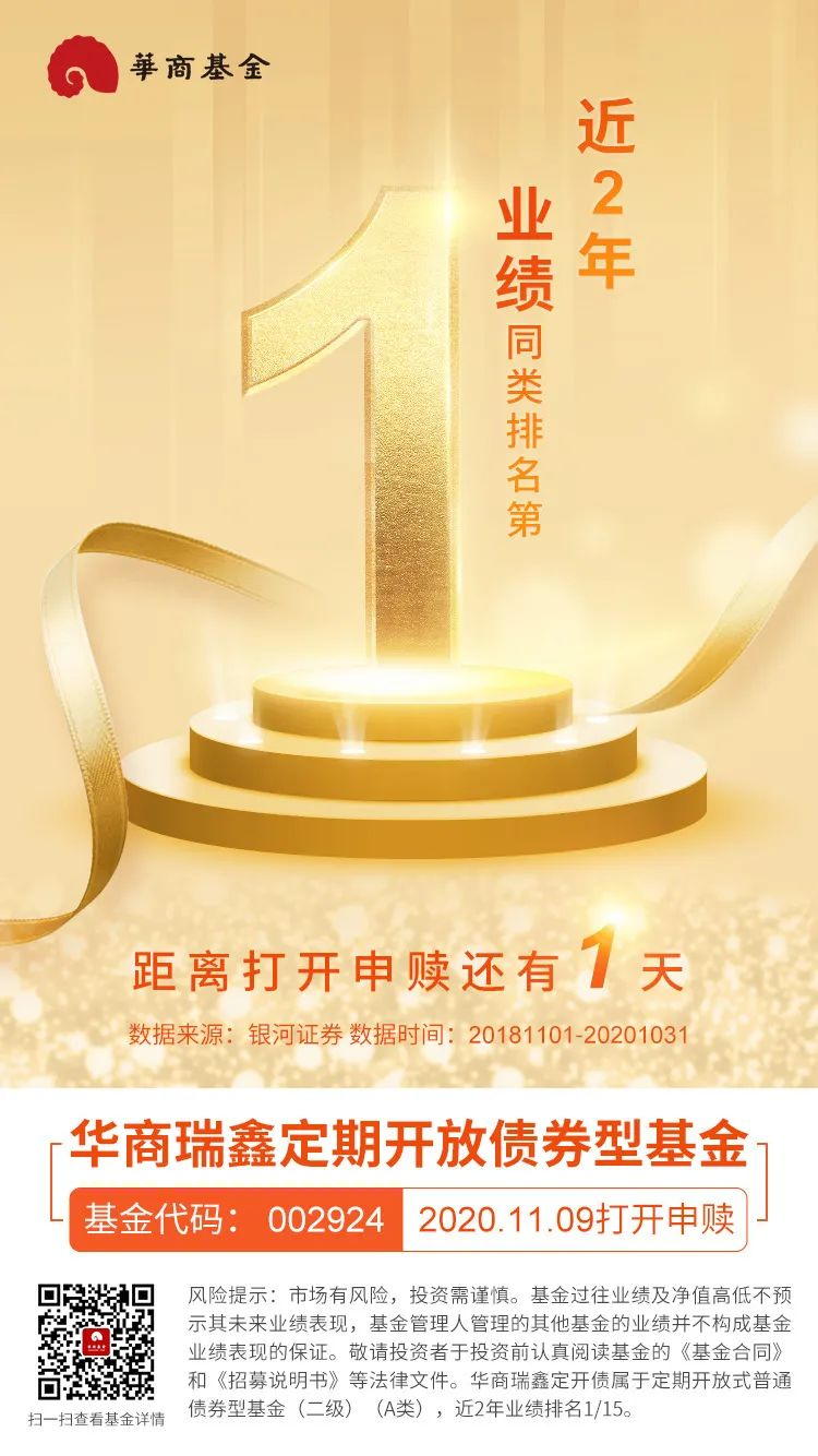 近两年业绩排名第1 华商瑞鑫定开债11月9日打开申赎