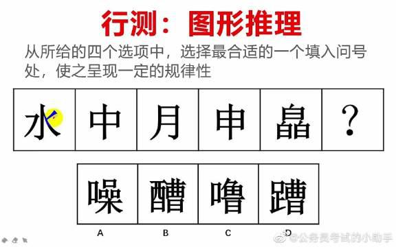 公务员考试题:行测图形推理汉字规律?