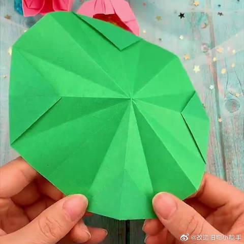 手工折纸荷叶,详细教程,非常简单又好看