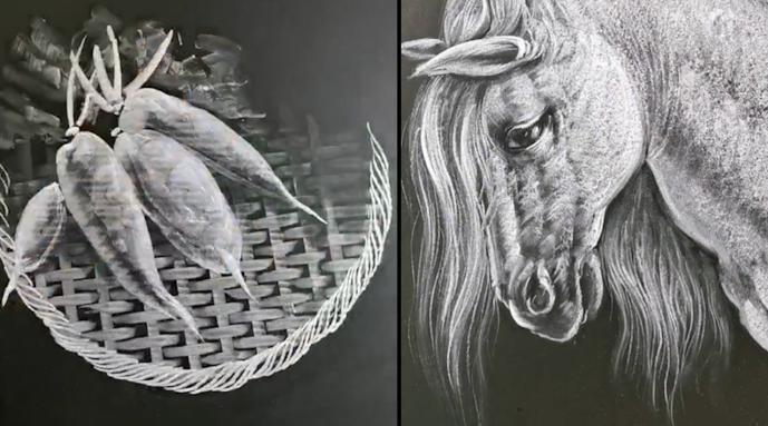 福建美术老师黑板粉笔画精细到毛发 网友:不舍得擦黑板了