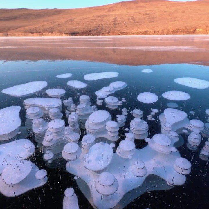 神奇!贝加尔湖长出梦幻泡泡