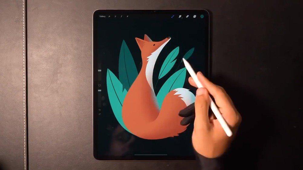 《小狐狸》iPad Pro 绘画过程~ 来自插画师 Gal Shir…………