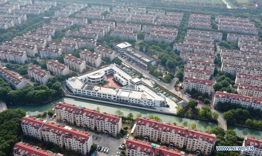 Aerial photo taken on Dec. 1, 2020 shows an overview of a community elderly care center at the Suzhou Industrial Park in Suzhou, east China's Jiangsu Province. The elderly care center recently welcomed its clients back upon completion of a two-year renovation project that had fundamentally upgraded this facility from an ordinary nursing home. A professional management and operation team was also introduced to ensure quality services to the senior people living there. (Xinhua/Ji Chunpeng)
