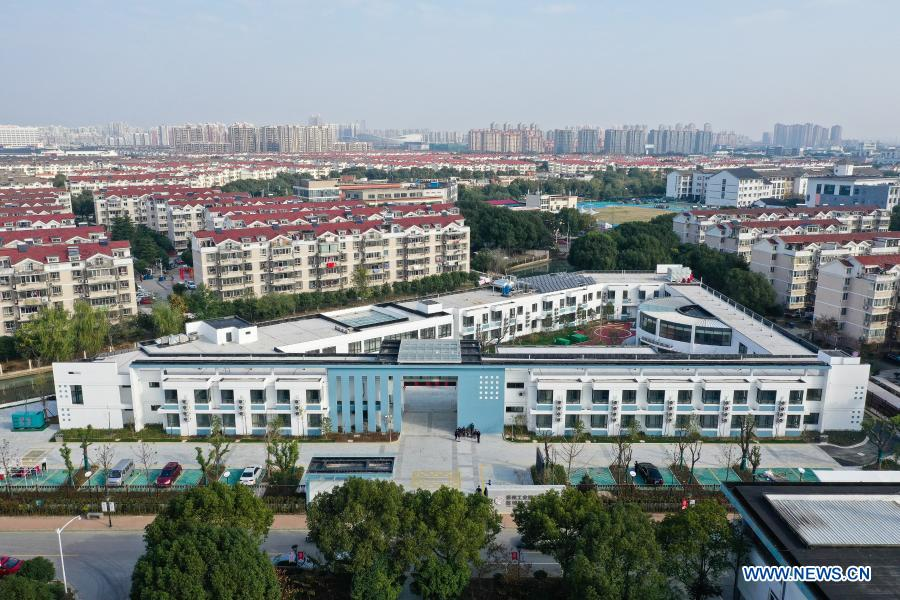 Aerial photo taken on Dec. 1, 2020 shows an overview of a community elderly care center in the Suzhou Industrial Park in Suzhou, east China's Jiangsu Province. The elderly care center recently welcomed its clients back upon completion of a two-year renovation project that had fundamentally upgraded this facility from an ordinary nursing home. A professional management and operation team was also introduced to ensure quality services to the senior people living there. (Xinhua/Ji Chunpeng)