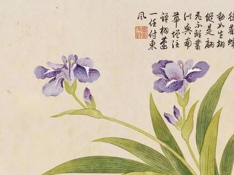 「津门网」钱维城画的花卉品类丰富,有牡丹等设色明艳画风细腻