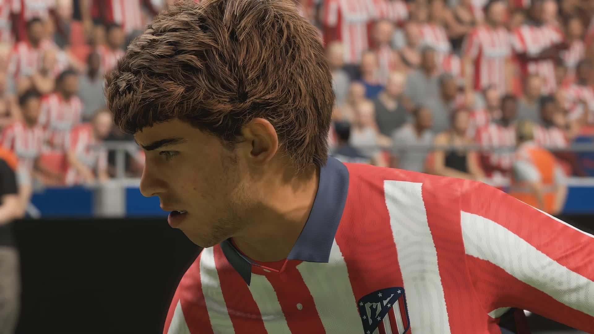 FIFA 21次世代,菲利克斯的头发在运动时的飘逸效果……