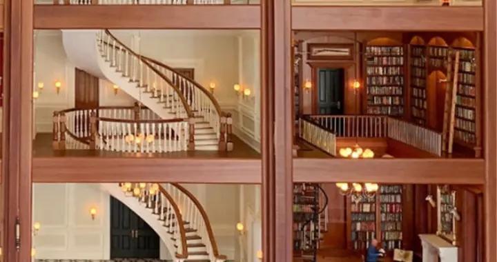 外国大爷造微型豪宅值65万?楼梯吊灯书房小巧精致,好想住进去