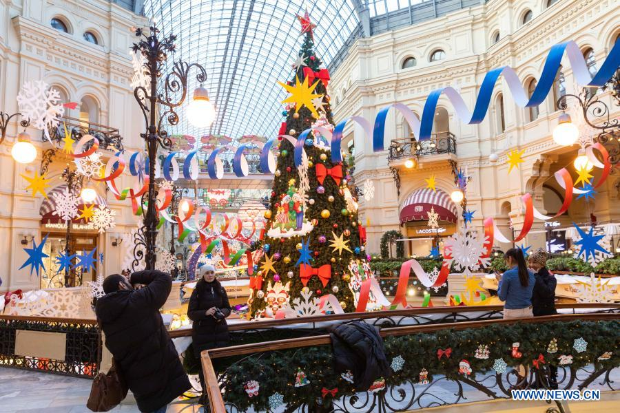 New Year decorations are seen in the GUM department store near Red Square in Moscow, Russia, on Dec. 2, 2020. (Xinhua/Bai Xueqi)