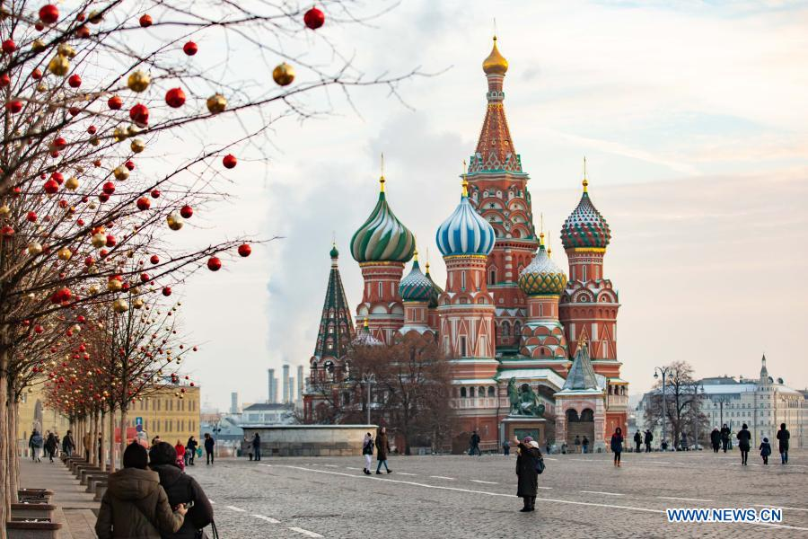 Photo taken on Dec. 2, 2020 shows the Saint Basil's Cathedral in Moscow, capital of Russia. (Xinhua/Bai Xueqi)