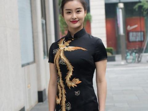黑色刺绣旗袍连衣裙穿搭,高级精致,温婉端庄,古典又有气质!