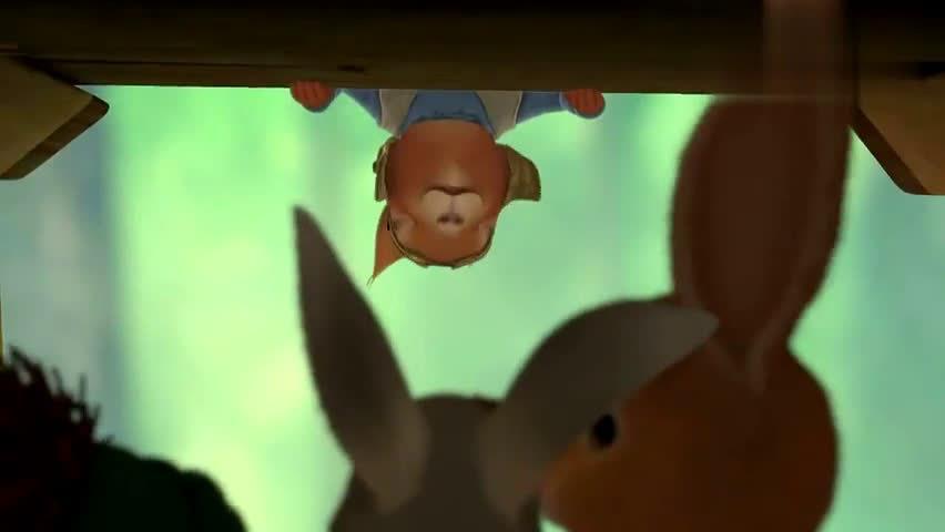 比得兔:比得为吃萝卜,竟要去树顶上,吓的本杰明紧闭双眼