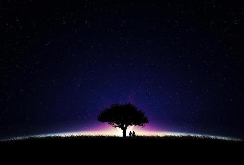 总在没有月亮的夜晚,静静地望着远方