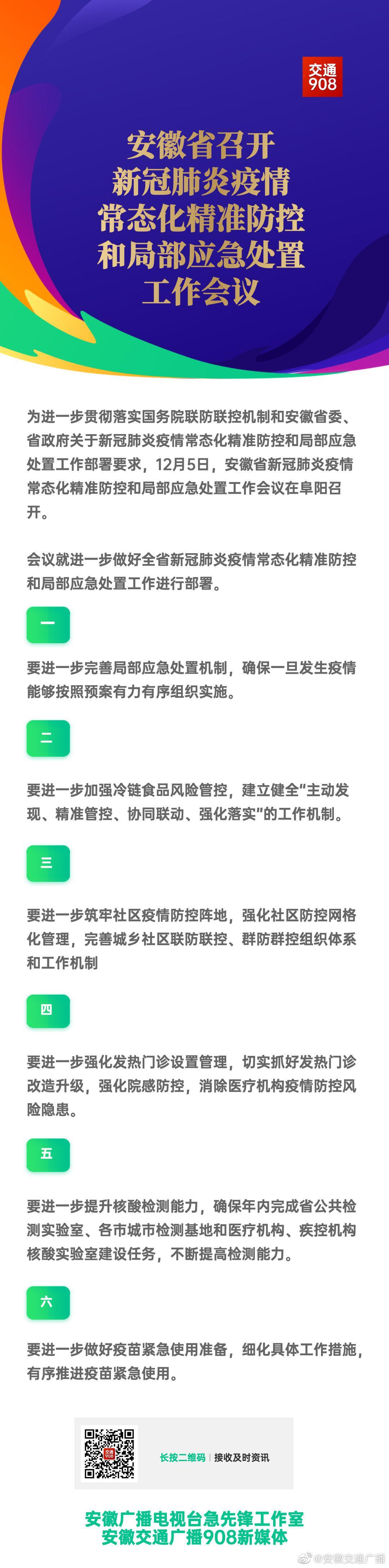 安徽省召开新冠肺炎疫情常态化精准防控和局部应急处置工作会议