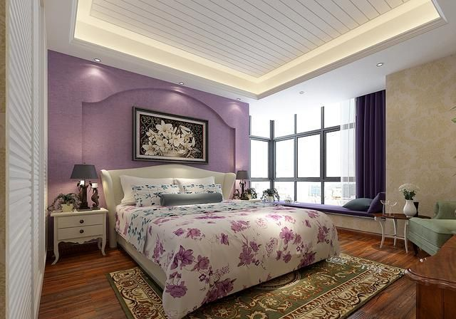 被这套189㎡美式风格圈粉了,原木色精致稳重,主卧室紫色很有特色