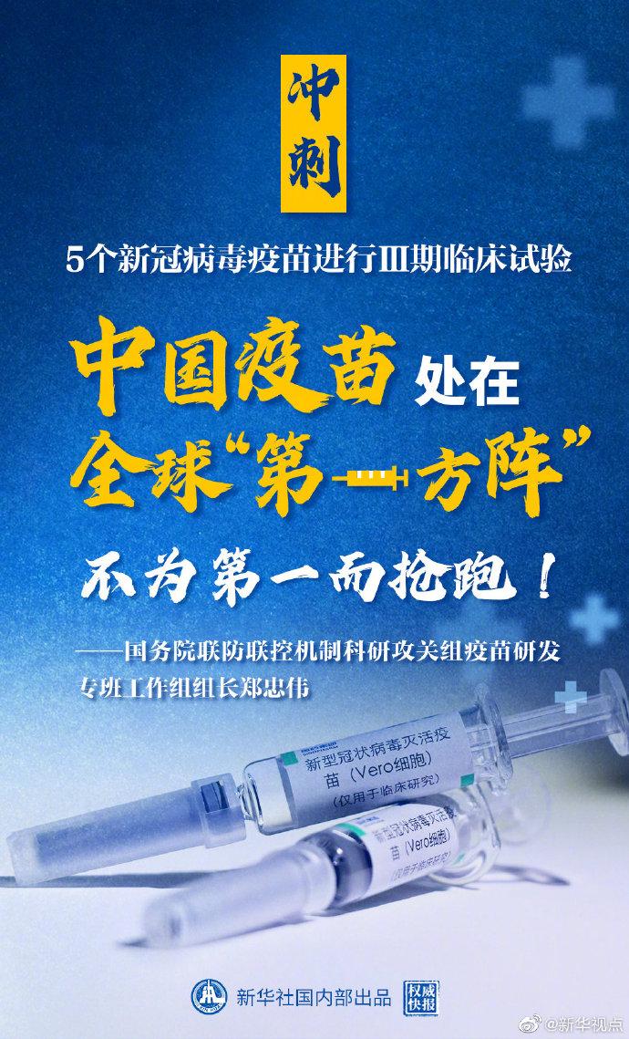 我国5个新冠病毒疫苗进行Ⅲ期临床试验处于全球第一方阵图片