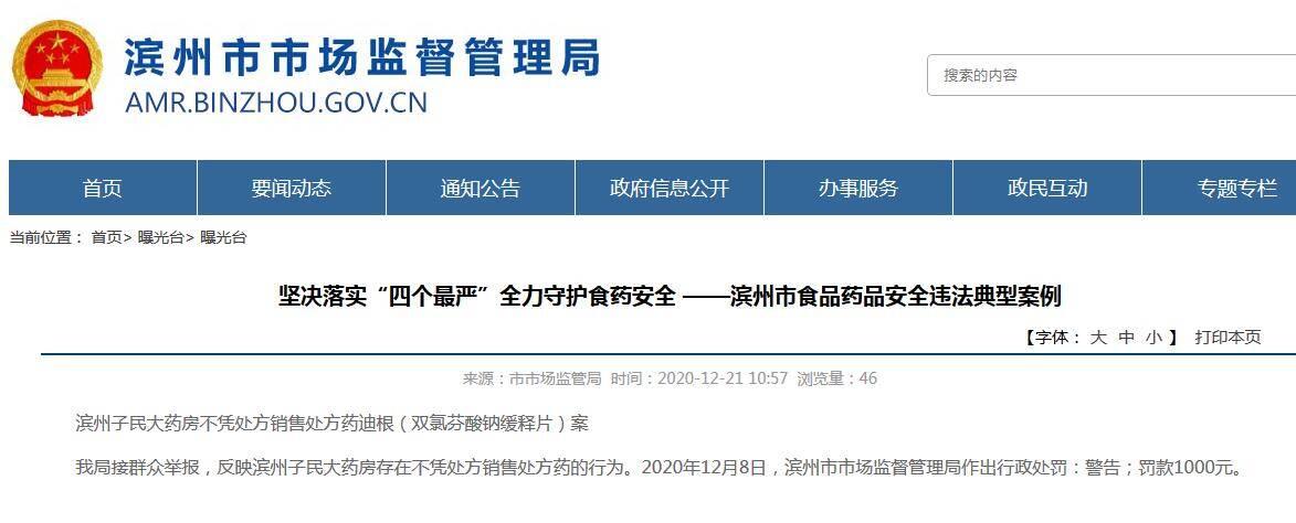 滨州一药店不凭处方销售处方药被罚款1000元