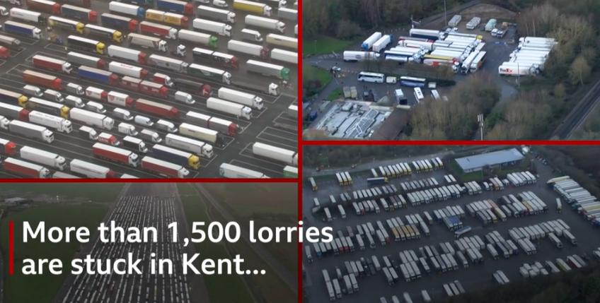 英国肯特郡1500多辆货车因旅行禁令滞留,高速宛如停车场