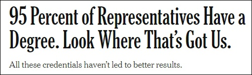 美媒建议:多招没大学学历的国会议员,重建公众信任