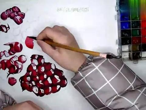 宝妈学画水彩石榴,粒粒粒画到崩溃,撕下胶纸后惊呆了