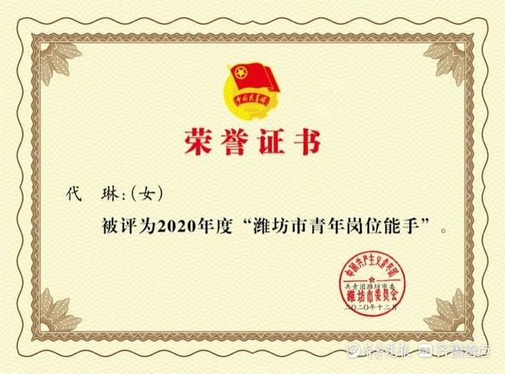 山东信院教师代琳获评2020年度潍坊市青年岗位能手
