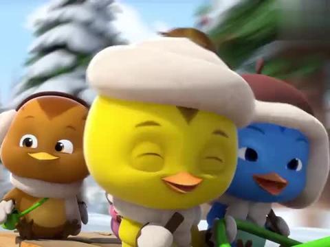 萌鸡小队:小企鹅带萌鸡们滑冰,速度真快啊,看得小鸭子好羡慕