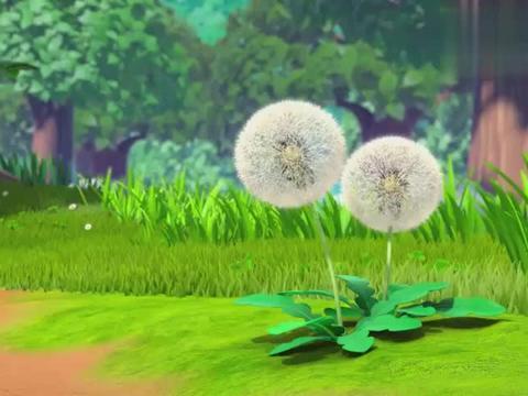 萌鸡小队:蒲公英像把小伞,满天飞舞真是好看,欢欢都来抓它玩了