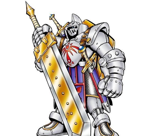数码宝贝:手持大剑的数码兽,拥有希望徽章,再进化是皇家骑士