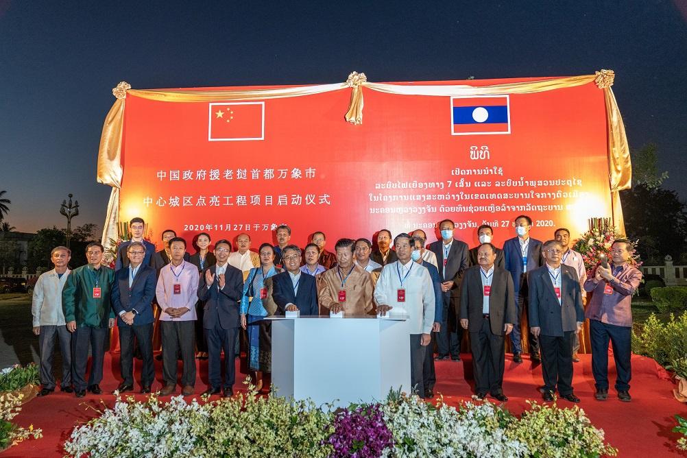 中国企业援外工程点亮老挝首都万象中心城区