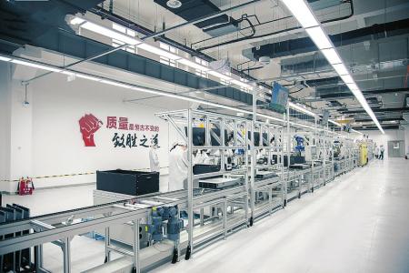 图为国科晋云山西高端整机制造基地1号产线。