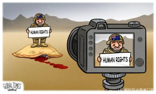 环球时报也出了幅漫画:《杀人者的自拍》,什么水平?