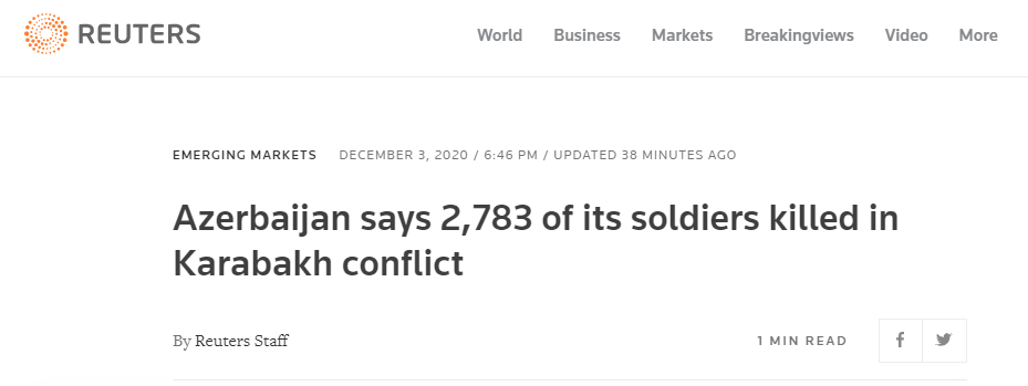 快讯!外媒:阿塞拜疆国防部称有2783名士兵在纳卡冲突中丧生