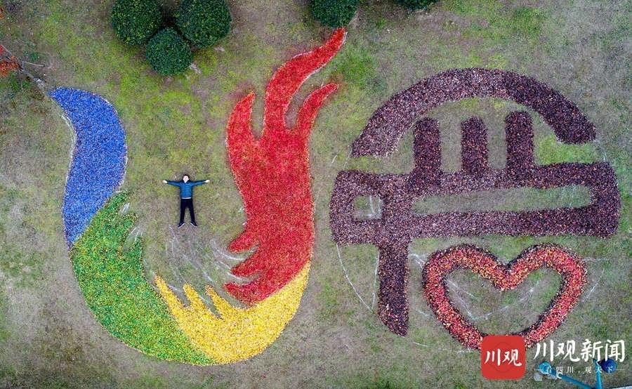 成都青白江:大运会会徽惊现凤凰湖,竟然是用落叶做的!