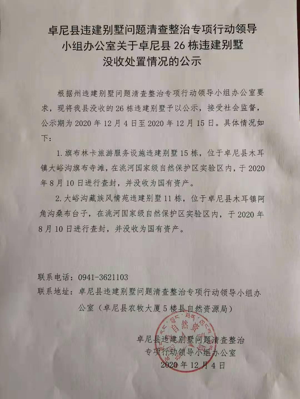 甘肃卓尼县:查封没收洮河国家级自然保护区内26栋违建别墅图片