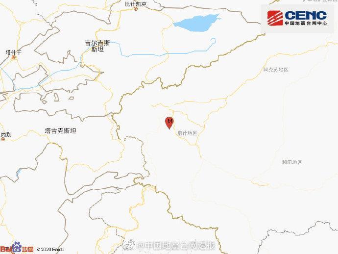 新疆喀什地区英吉沙县发生3.1级地震 震源深度7千米