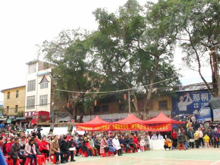 隆安县那桐社区露天剧场上的热闹