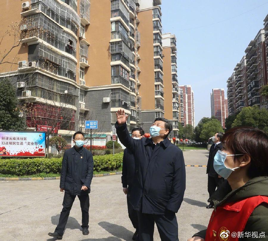 """习近平勉励武汉市民:""""大家一起加油,再坚持一下!""""图片"""
