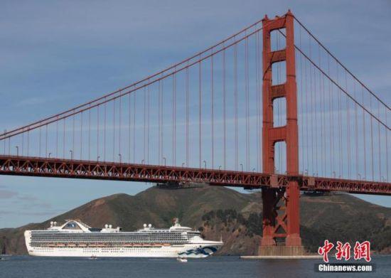 """当地时间3月9日,""""至尊公主号""""邮轮穿过旧金山金门大桥。中新社记者 刘关关 摄"""
