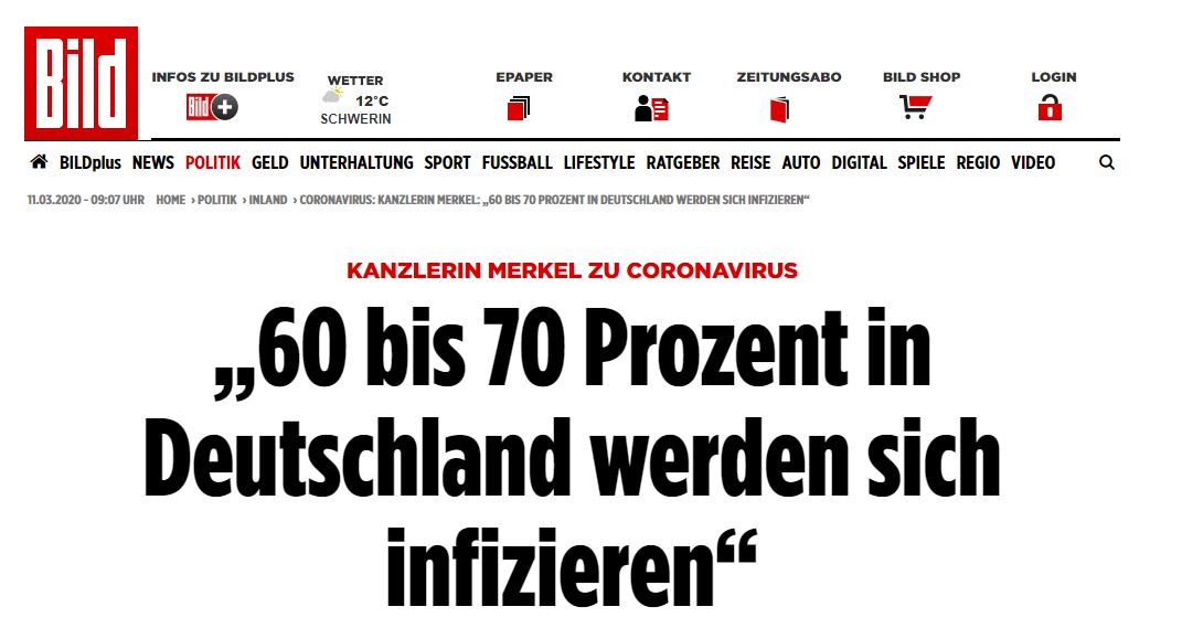 """德国《图片报》:默克尔谈新冠病毒:""""60%-70%在德国的人将感染新冠病毒"""""""