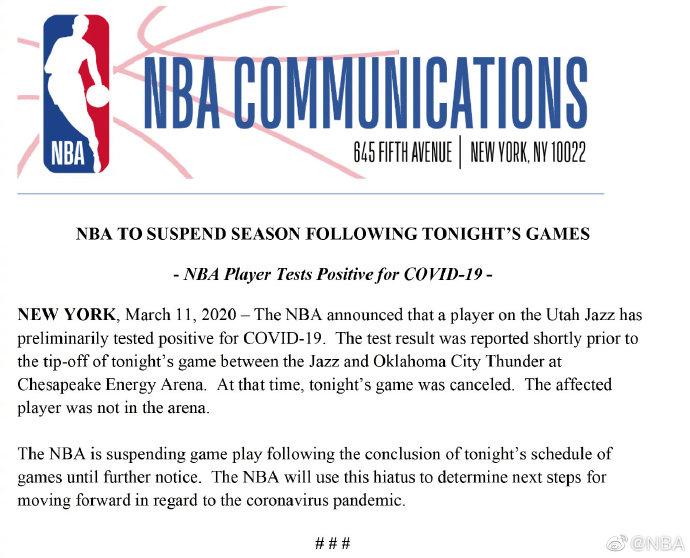 NBA无限期停摆!疫情之下,国际体坛将何去何从?