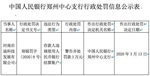 河南启迪科技违法遭警告 存款人违规使用银行结算账户