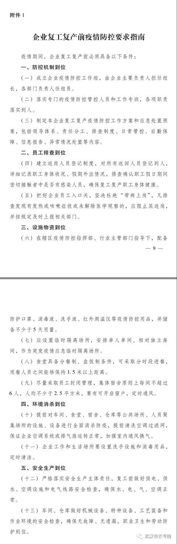 武汉企业复工复产通知来了!(附申请表)