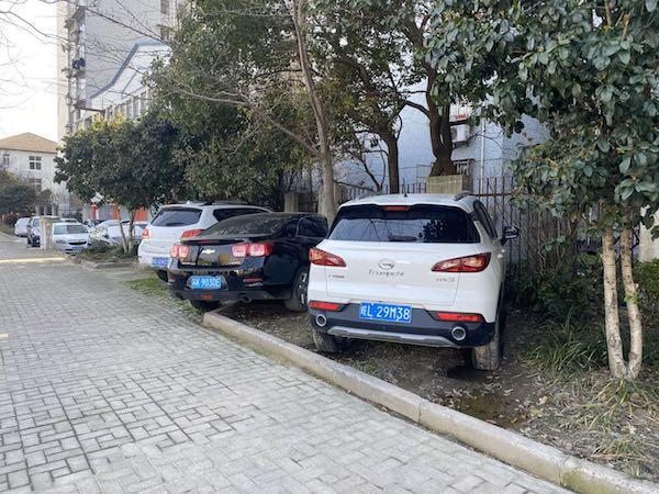 军工路平凉路 绿化带成了停车场